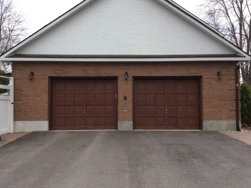 Red Brick Home Garage Door And Gable Paint Colour