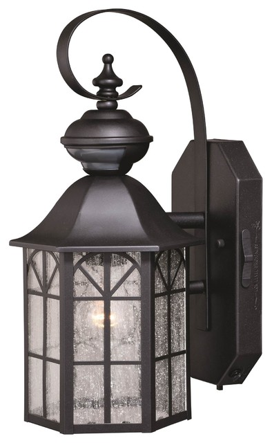 "Vaxcel Tudor Dualux 7"" Outdoor Wall Light, Dark Bronze."
