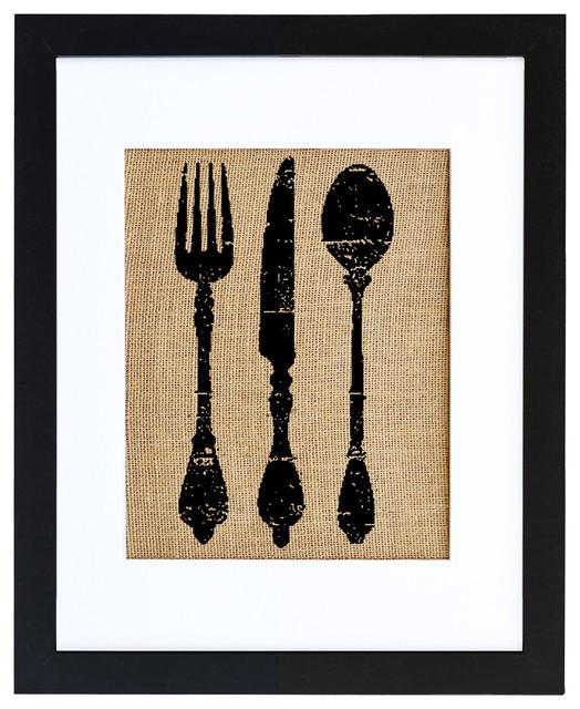 Vintage Silverware Burlap Wall Art, Modern Black 16x20