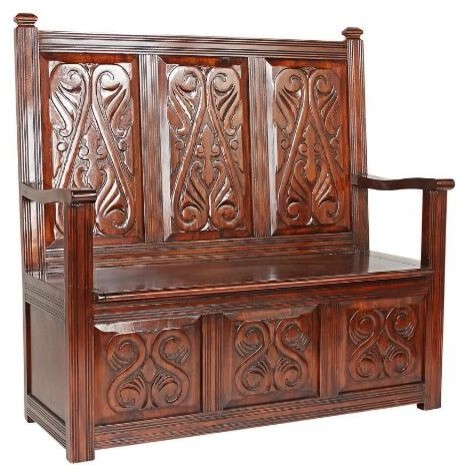 Historic Mahogany Monk's Bench