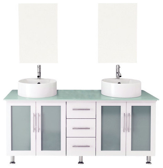 "Bathroom Vanity Glass Top 59"" double lune white large vessel sink modern bathroom vanity"