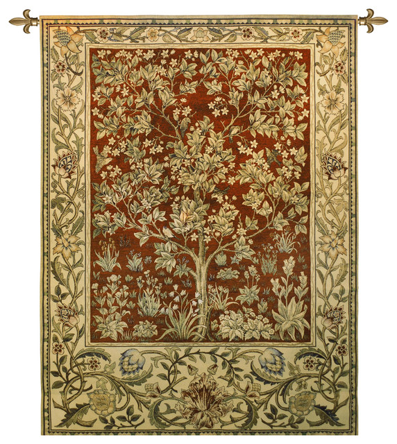 Tree Of Life Ruby Red Large Wall Tapestry Traditional