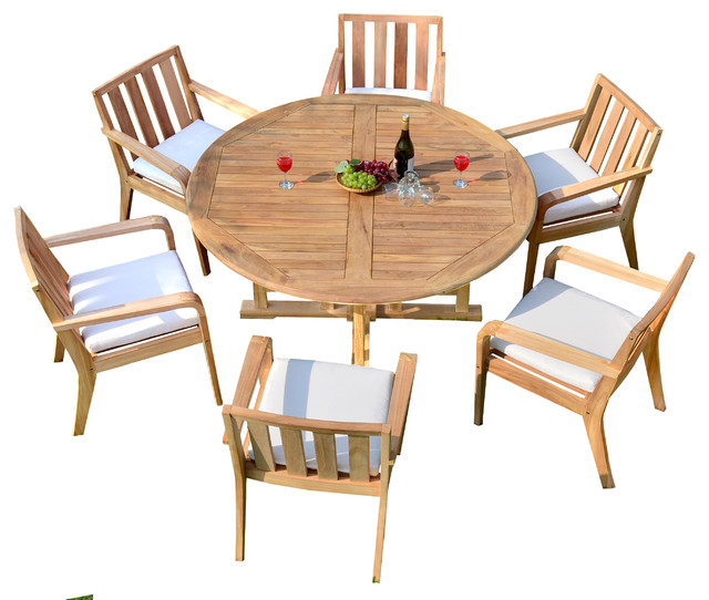 "Contemporary Outdoor Dining Sets: 7 Piece Outdoor Patio Teak Dining Set, 60"" Round Table, 6"