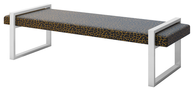Leopard Cheetah Cat Animal Skin Print Accent Bench Modern Accent And Storage Benches By