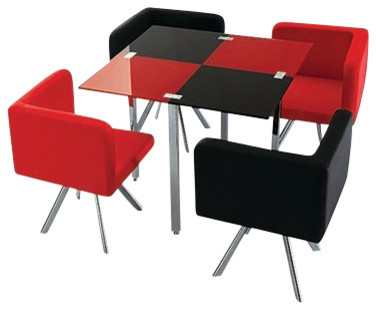 Bistro Retro 5 Piece Dinette Set With Faux Leather Chairs, Red And Black