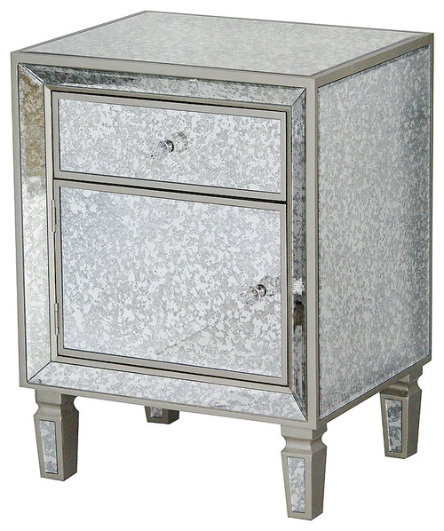 1-Drawer 1-Door Antiqued Mirror Accent Cabinet, MDF, Wood Mirrored Glass