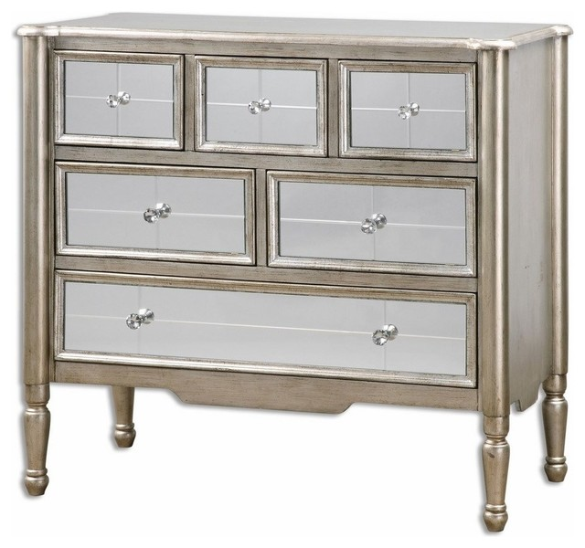 Mirrored Silver Wood Accent Chest of Drawers - Traditional ...