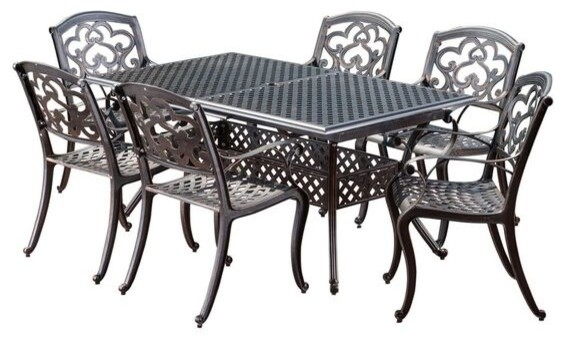 Ariel Outdoor 7 Pc Cast Aluminum Dining Set With Extension Leaf.