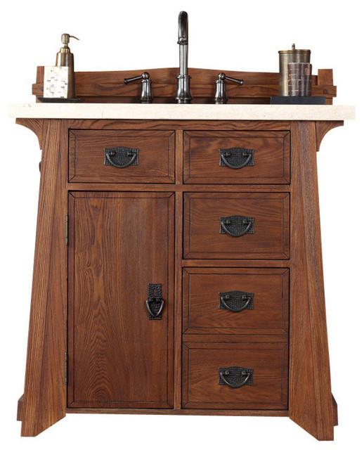 Pasadena 36 Antique Oak Single Vanity Cabinet Transitional