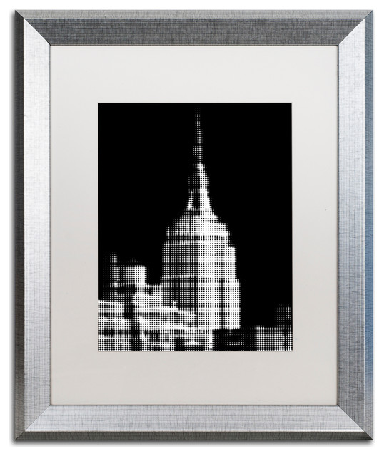 Pixels Print Empire State Art Silver Frame White Mat