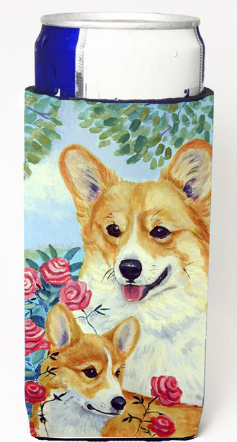Corgi Momma Loves Roses Michelob Ultra Koozies For Slim Cans 7084muk