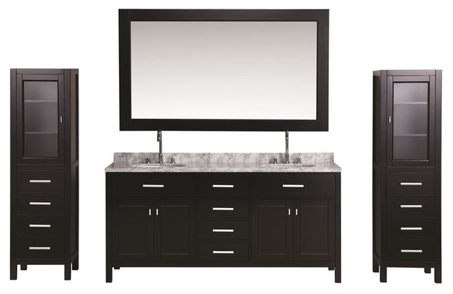 Brilliant London 72 Double Sink Vanity Set Espresso With Two Matching Linen Cabinets Download Free Architecture Designs Grimeyleaguecom