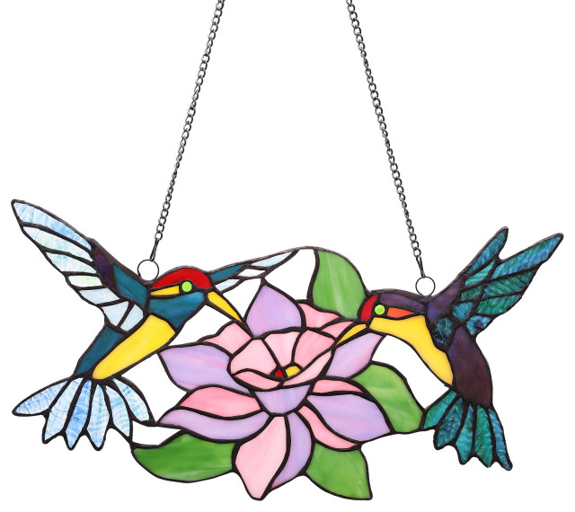 Co Z Stained Glass Hummingbirds With Blossom Tiffany Style Window Panel Contemporary Stained Glass Panels By Banyan Imports