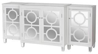 Malta Global Bazaar White Lacquer Mirror Buffet Sideboard