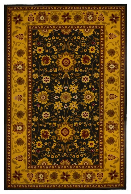 Traditional Gold And Black Oriental Area Rug Traditional