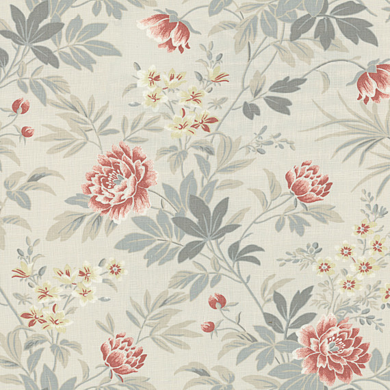 Gray and Pink Lotus Flower Linen Fabric