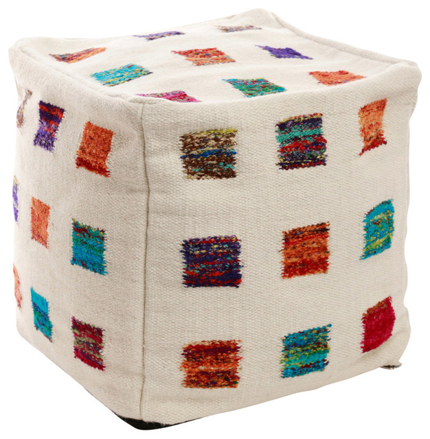 Best Home Fashion - Square Wool Pouf, Multicolor - View in Your Room! Houzz