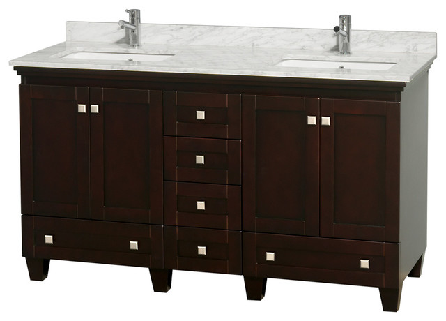60 Acclaim Double Vanity With White Carrera Marble Top Square Sink No Mirror Bathroom