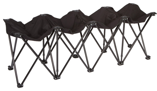 Portable 4 Seater Folding Team Sports Sideline Bench Black Upholstered Benches By Trademark