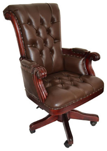 regal brown leather office chair with wood trim - traditional