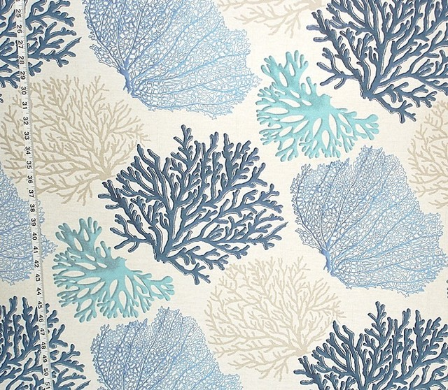 Brick House Fabrics Blue Coral Fabric Aqua Ocean