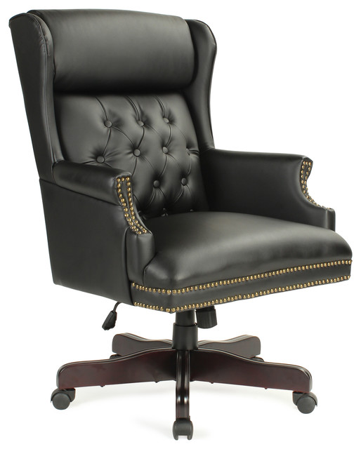 Executive Wingback Traditional Office Faux Leather Chair, Black.