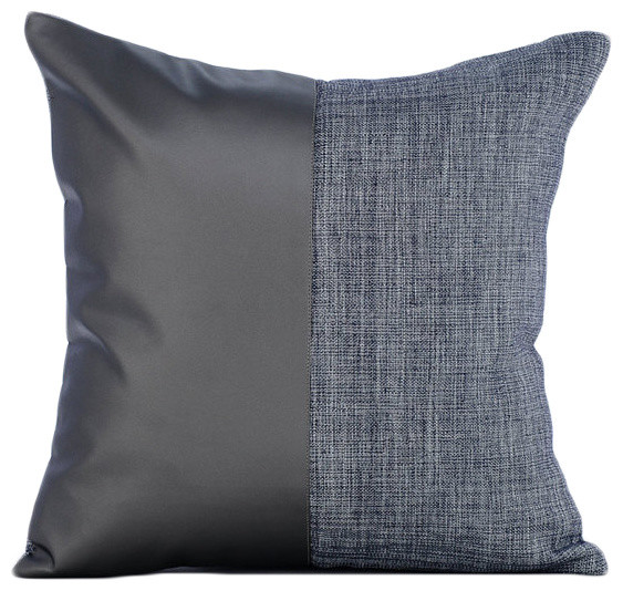 Charcoal Gray Leather N Jute Faux Leather Gray Pillow