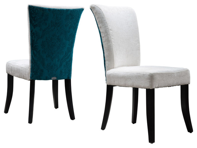 Monroe Fabric Dining Chairs, Ivory And Teal, Set Of 2.