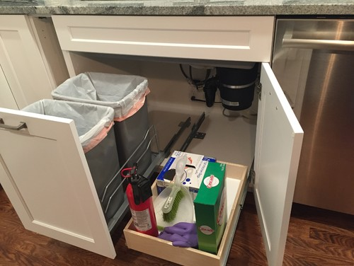 under kitchen sink garbage can trash pullout and drawer sink finally installed 8695