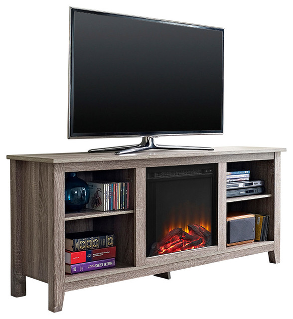 Driftwood Tv Stand With Fireplace Insert 58 Transitional Entertainment Centers And Tv
