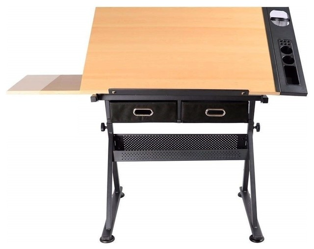 Modern Drafting Table Coated Iron Frame And Mdf Desktop 2 Storage Drawer