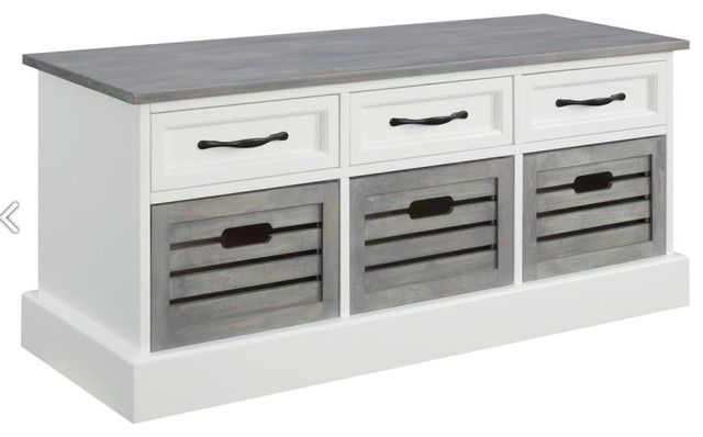 Fine Weathered Gray And White Storage Bench Dailytribune Chair Design For Home Dailytribuneorg