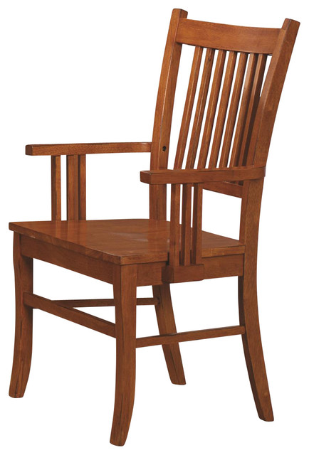 Marbrisa mission style medium brown finish slat back wood for Wood dining chairs with arms