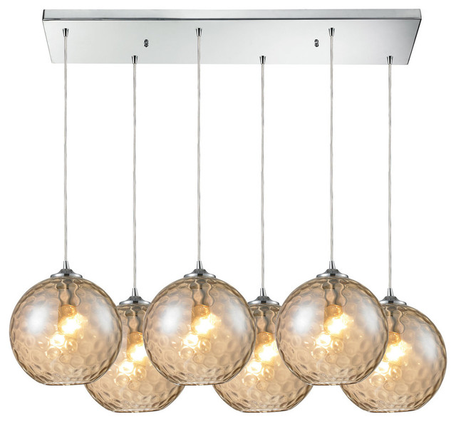 Watersphere 6 Light Champagne Pendant Polished Chrome
