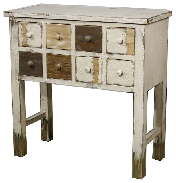 Tuscany 8 Drawer Cabinet Rustic White Farmhouse