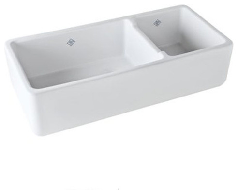Rohl 40in 70 30 Double Basin Farmhouse Fireclay Kitchen Sink In White