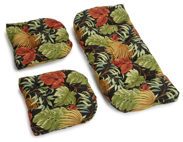 U-Shaped Spun Polyester Tufted Settee Cushions, 3-Piece Set, Tropical Raven