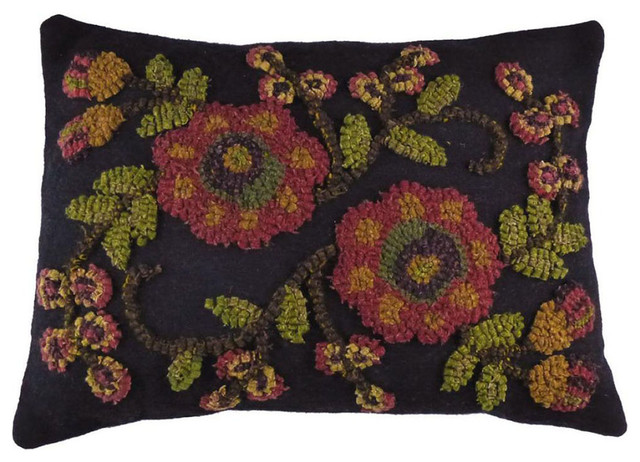 "Late Summer Hooked Wool Pillow 12""x16"", Rectangle, Black."
