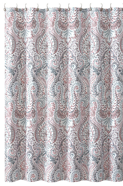 Fl Paisley Turquoise Pink Gray Fabric Shower Curtain