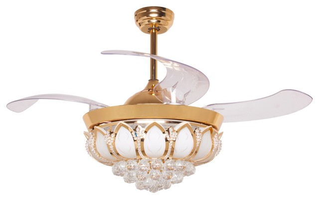 Crystal Ceiling Fan With Light, Retractable Blades.
