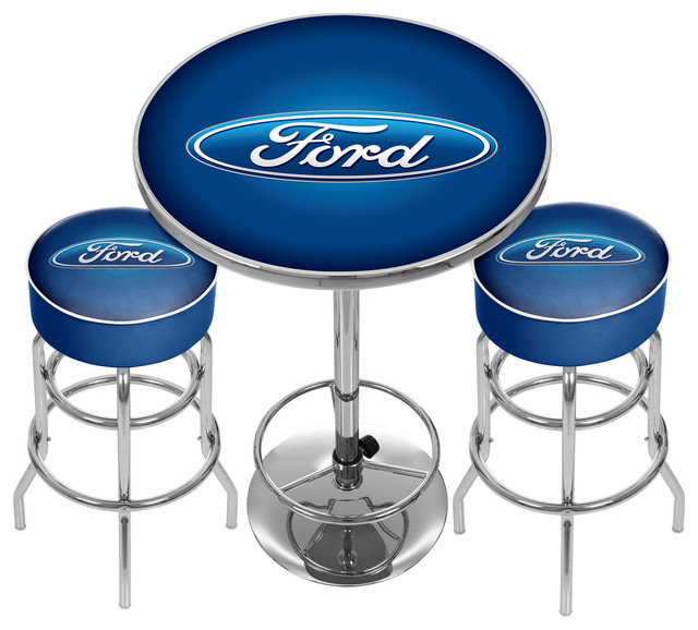 Ford Game Room Combo 2 Bar Stools And Table