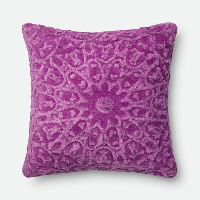 """Loloi Dr. G Decorative Pillow, Orchid, Down Insert, 22""""x22""""."""