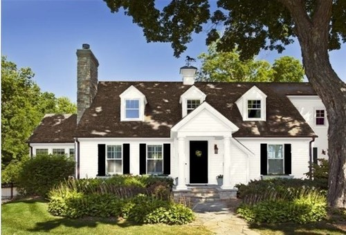Roof Color White Clapboard And Black Shutters
