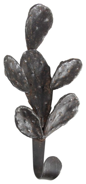 Eclectic Rusted Iron Cactus Wall Hook.