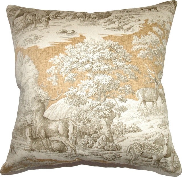Decorative Down Pillows : The Pillow Collection - Feramin Toile Down Feather Filler Pillow, Aqua Back, 20