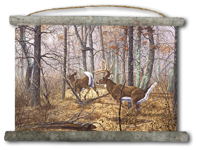 "Canvas Wall Scroll, Autumn Pursuit, 25""x18"""