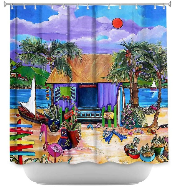 DiaNoche Designs   Shower Curtain Unique From DiaNoche Designs   Island  Time   Shower Curtains  Tropical Shower Curtain