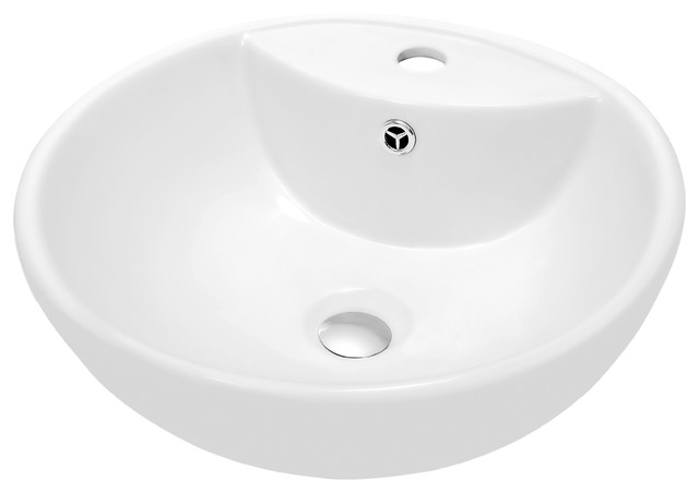 Dawn Vessel Above-Counter Round Ceramic Art Basin With Single Hole For Faucet.
