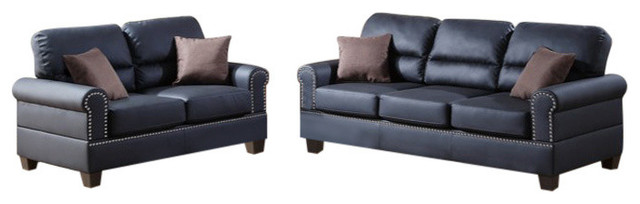 Leather 2-Piece Sofa Set With Pillows, Black.