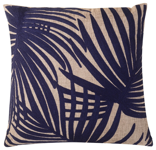 "Embroidered Palm Leaf Throw Pillow, Blue, 20""x20""."